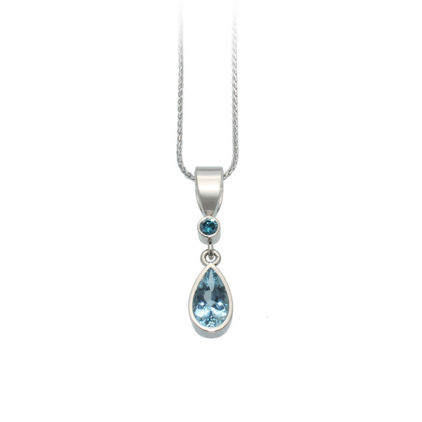 Aquamarine & Blue Diamond Pendant