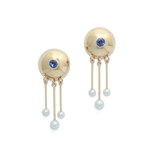 Blue Sapphire & Pearl Earrings