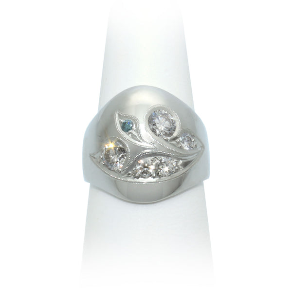 Size 7.75 - White & Blue Diamond Ring