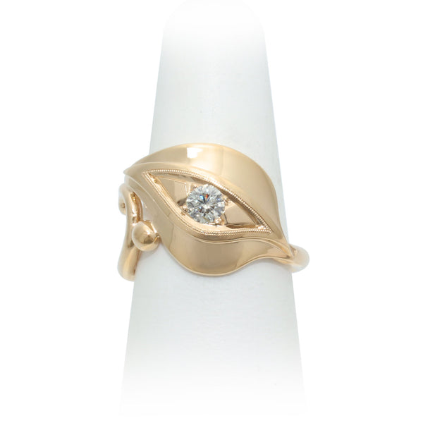 Size 8 - Yellow Gold Diamond Leaf Ring