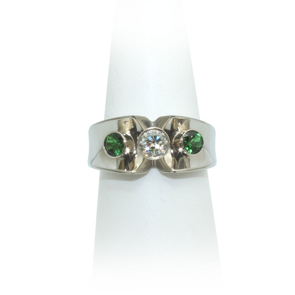 Size 7.5 - Diamond & Chrome Tourmaline Ring