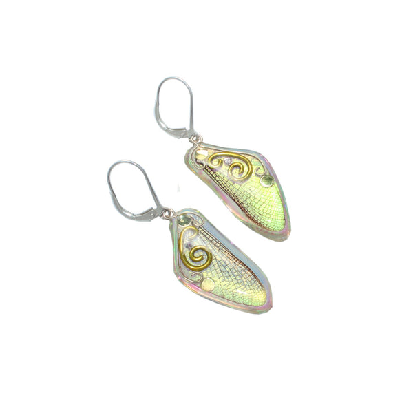 Chartreuse Fairy Wing Earrings