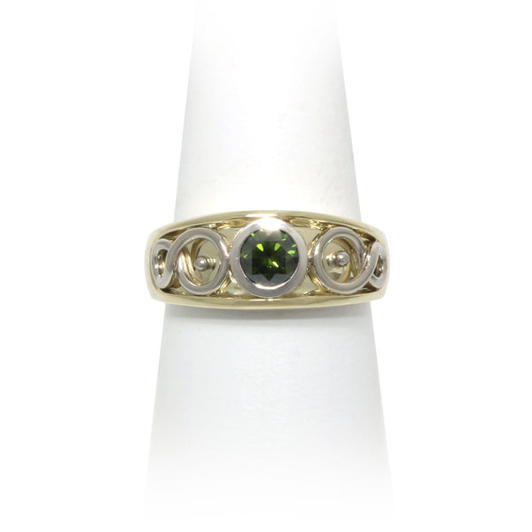 Size 8.5 - Green Diamond Ring