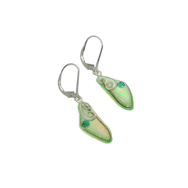 Green Fairy Wing Earrings