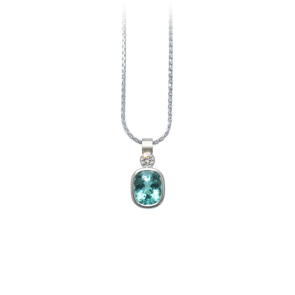 Mint Beryl & Diamond Pendant