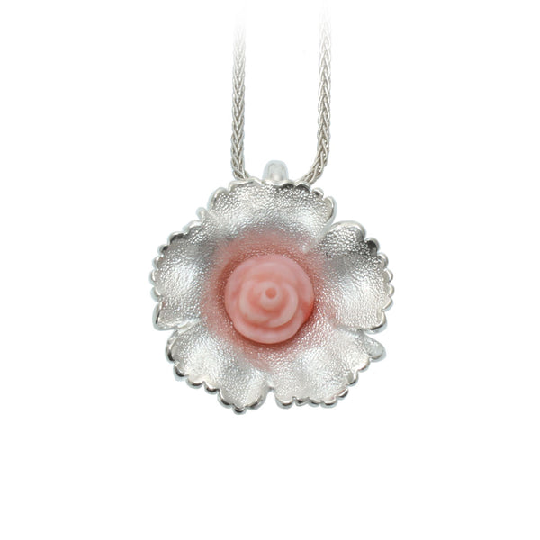 Pink Coral Wildflower Pendant