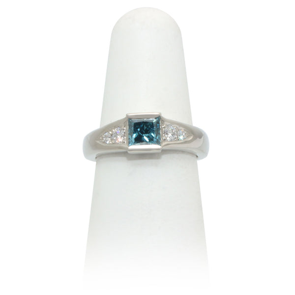 Size 6 - Princess Blue Diamond Ring