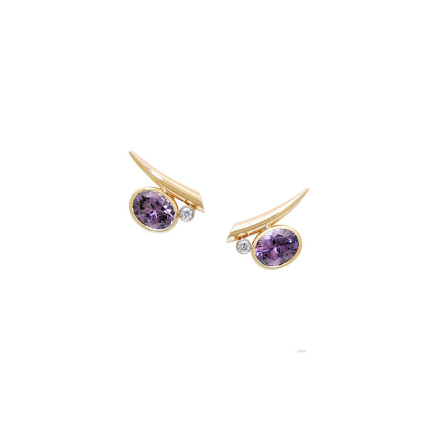 Purple Spinel & Diamond Earrings