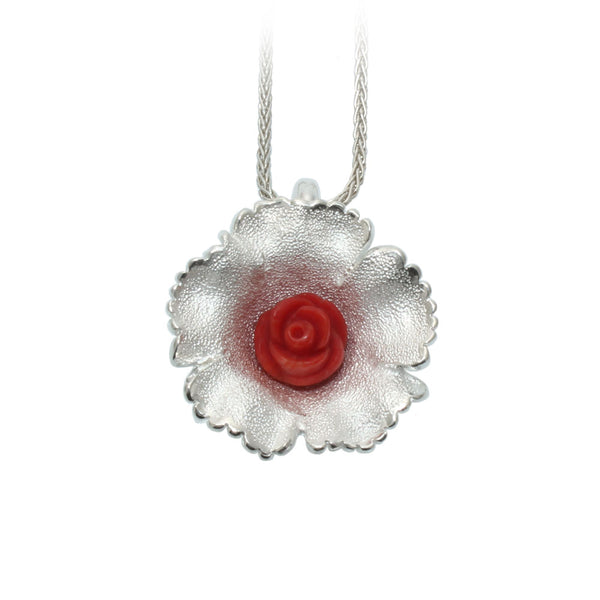Red Coral Wildflower Pendant