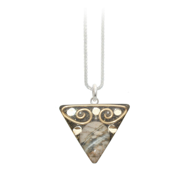 Jasper & Brass Triangle Pendant