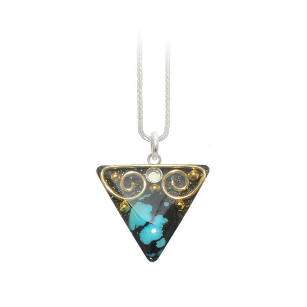Turquoise & Brass Triangle Pendant