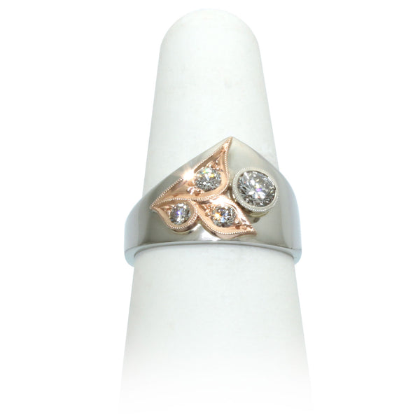 Size 7.75 - White & Rose Gold Diamond Ring