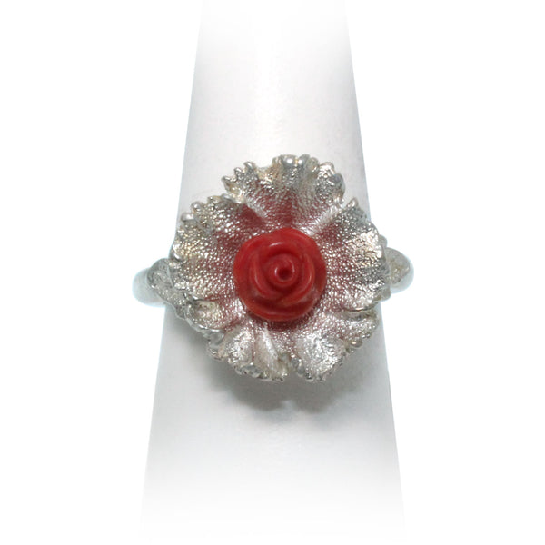 Size 8 - Red Coral Wildflower Ring