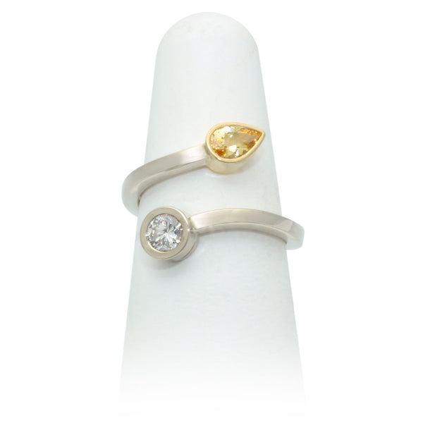 Size 6.5 - Pear Yellow Sapphire & Diamond Ring