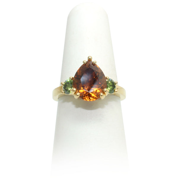 Cognac Zircon & Green Diamond Ring