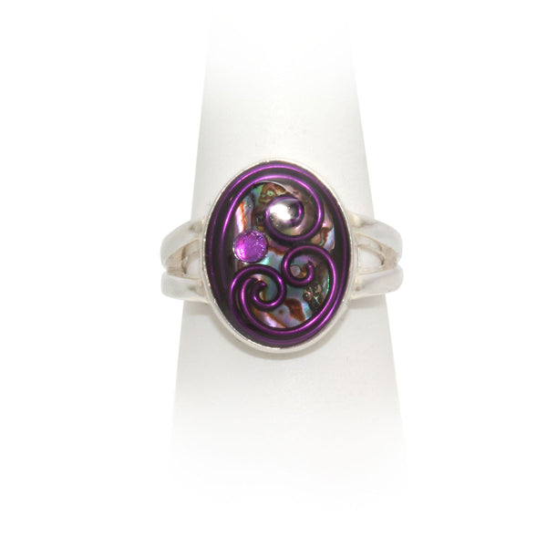 Size 9 - Purple Abalone Ring