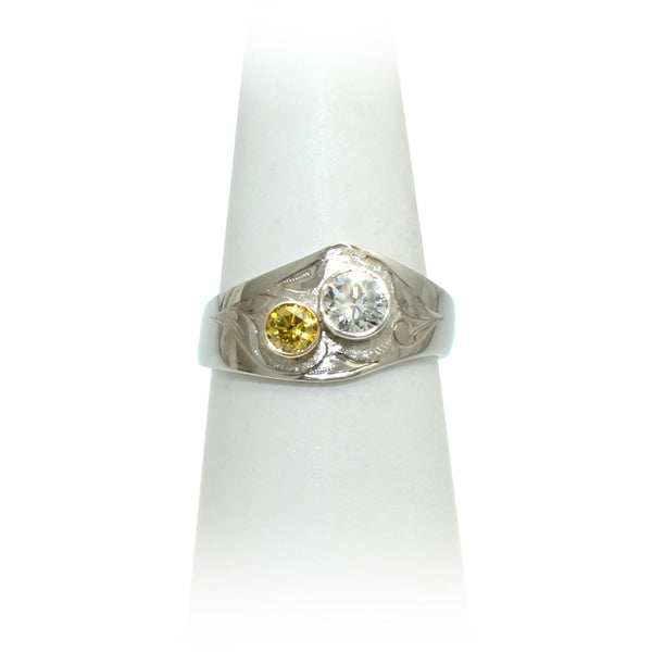 White & Yellow Diamond Ring