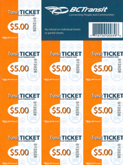 FVX Single Fare Transit Tickets (Sheet of 10) - $45.00