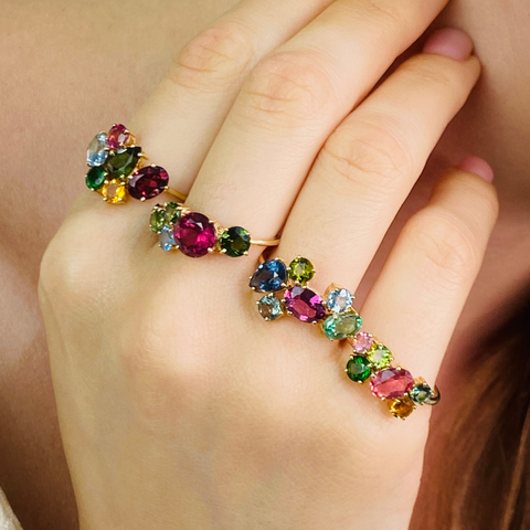 Multicolor Stones Ring in 18k Yellow Gold