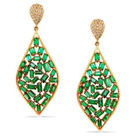 Emerald Earring in 18K Yellow Gold