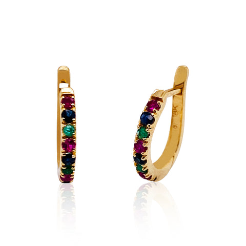 Multicolor Stone Rect. Hoop Earring In 18K Yellow Gold