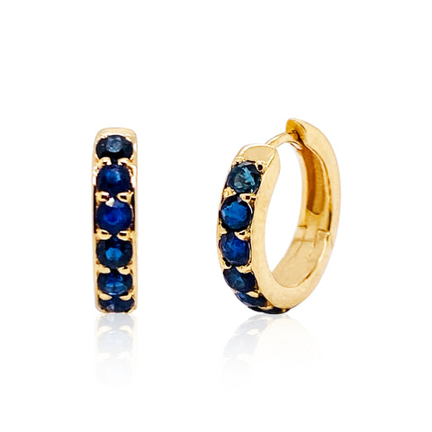 Gemstone Round Huggies Earring In 18K Yellow Gold