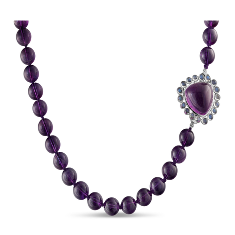 Amethyst and Rainbow Moonstone Necklace in 18K  White Gold