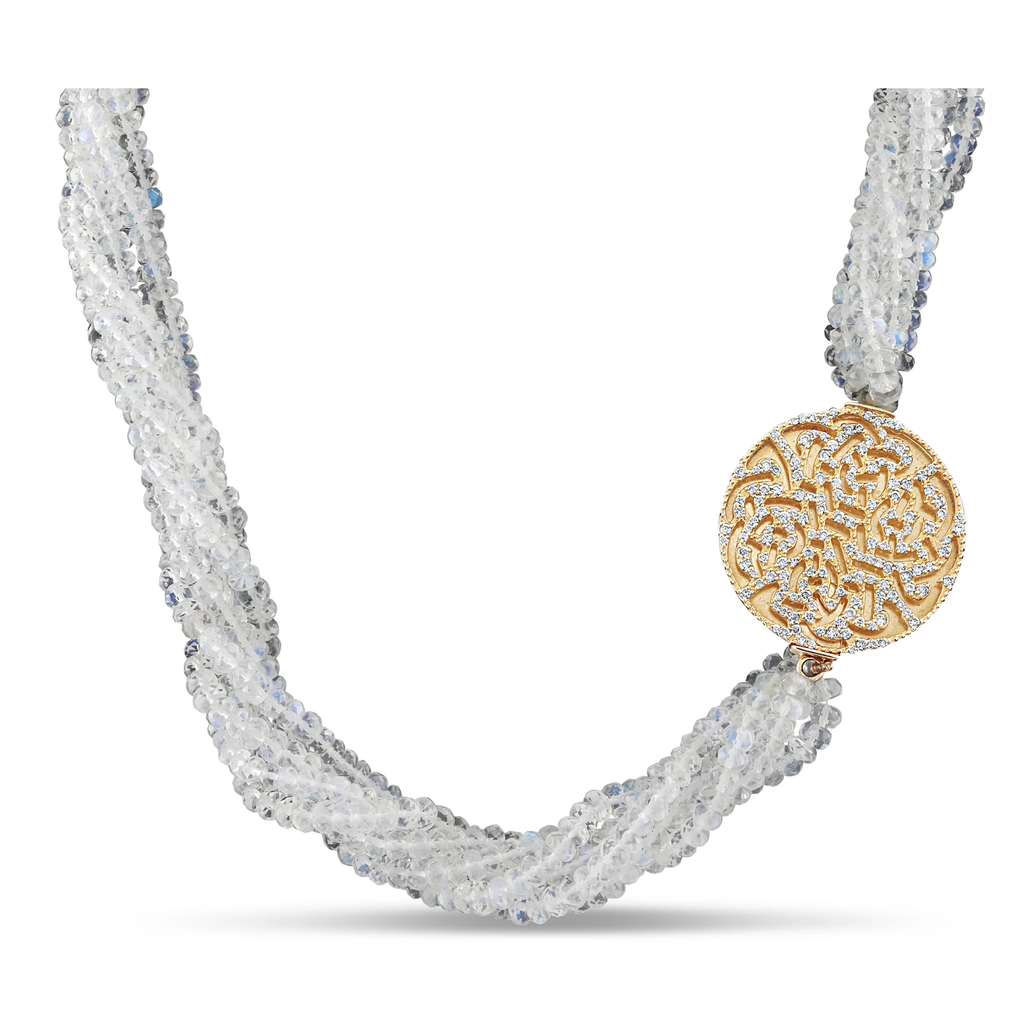Moonstone Beads & Diamond Necklace In 18K Yellow Gold