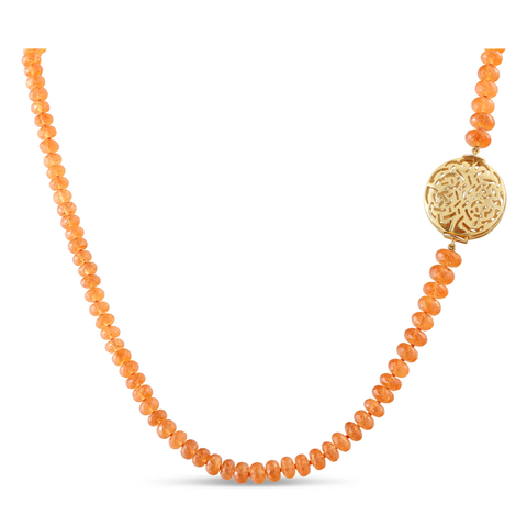 Mandarin Garnet Beads Necklace in 18K Yellow Gold