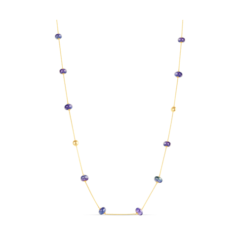 Tanzanite Smooth Roundel Necklace In 18K Yellow Gold