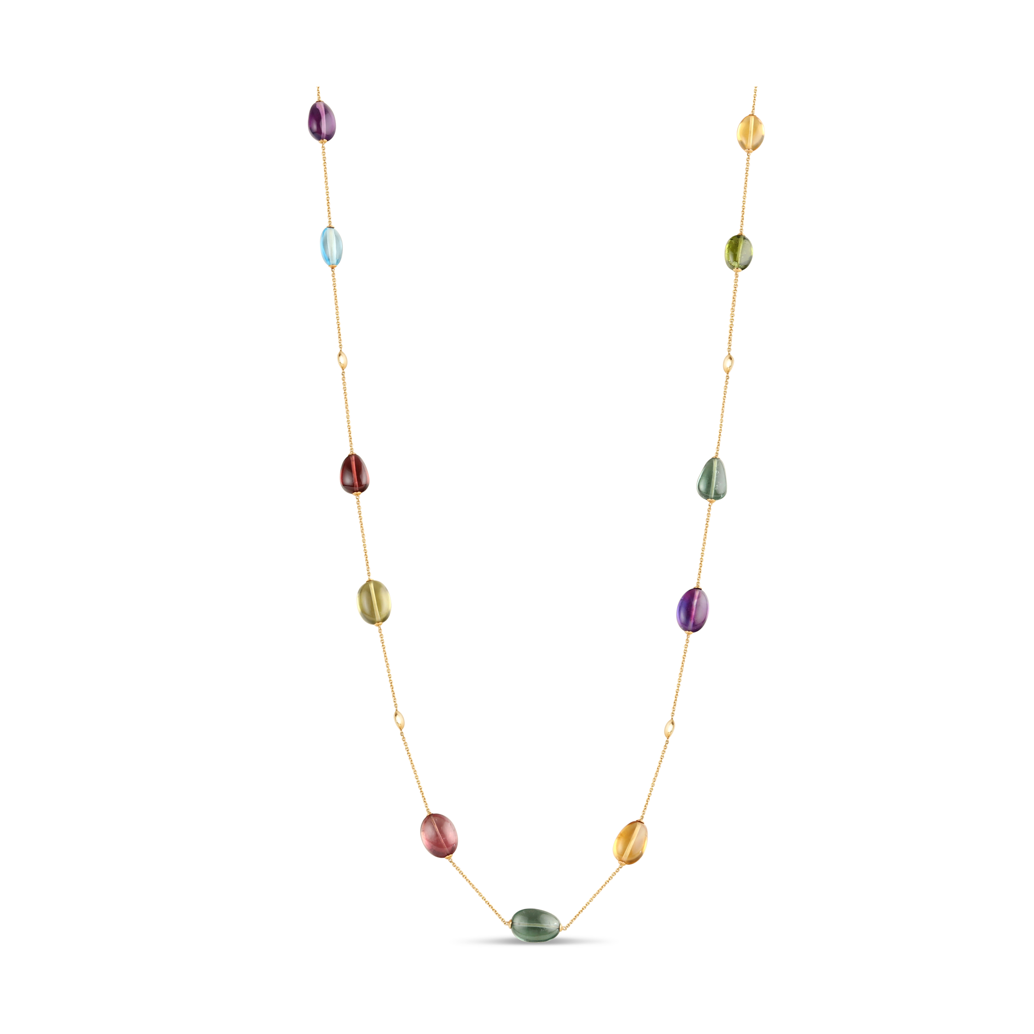 Multicolor Stone Baroque Necklace In 18K Yellow Gold