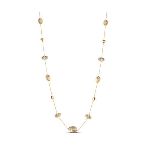 Golden Rutile Long Necklace In 18k Yellow Gold