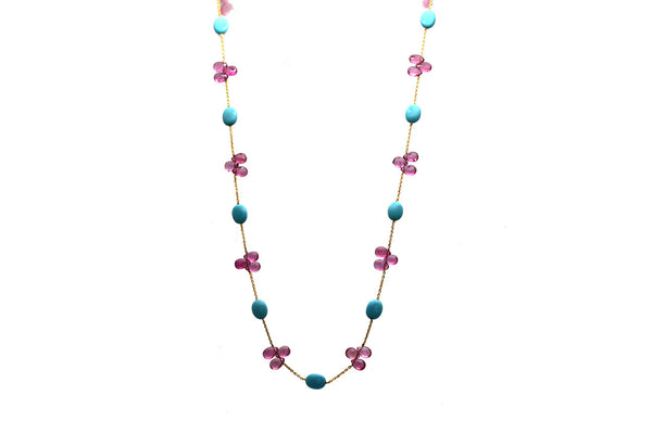 18Kt Yellow Gold Necklace With Turquoise Baroque & Pink Tourmaline