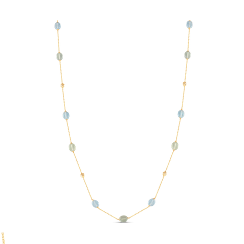 Multicolor Stones Olive Beads Long Necklace in 18k Yellow Gold