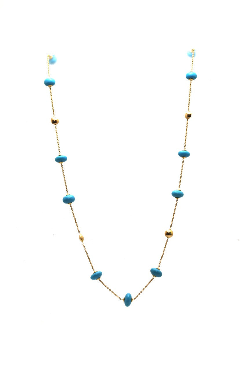 Turquoise Beads Necklace In 18K Yellow Gold
