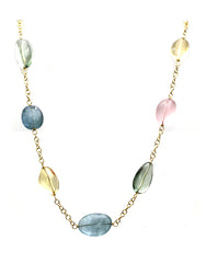 Multi Color Stone Baroque Necklace in 18K Yellow Gold