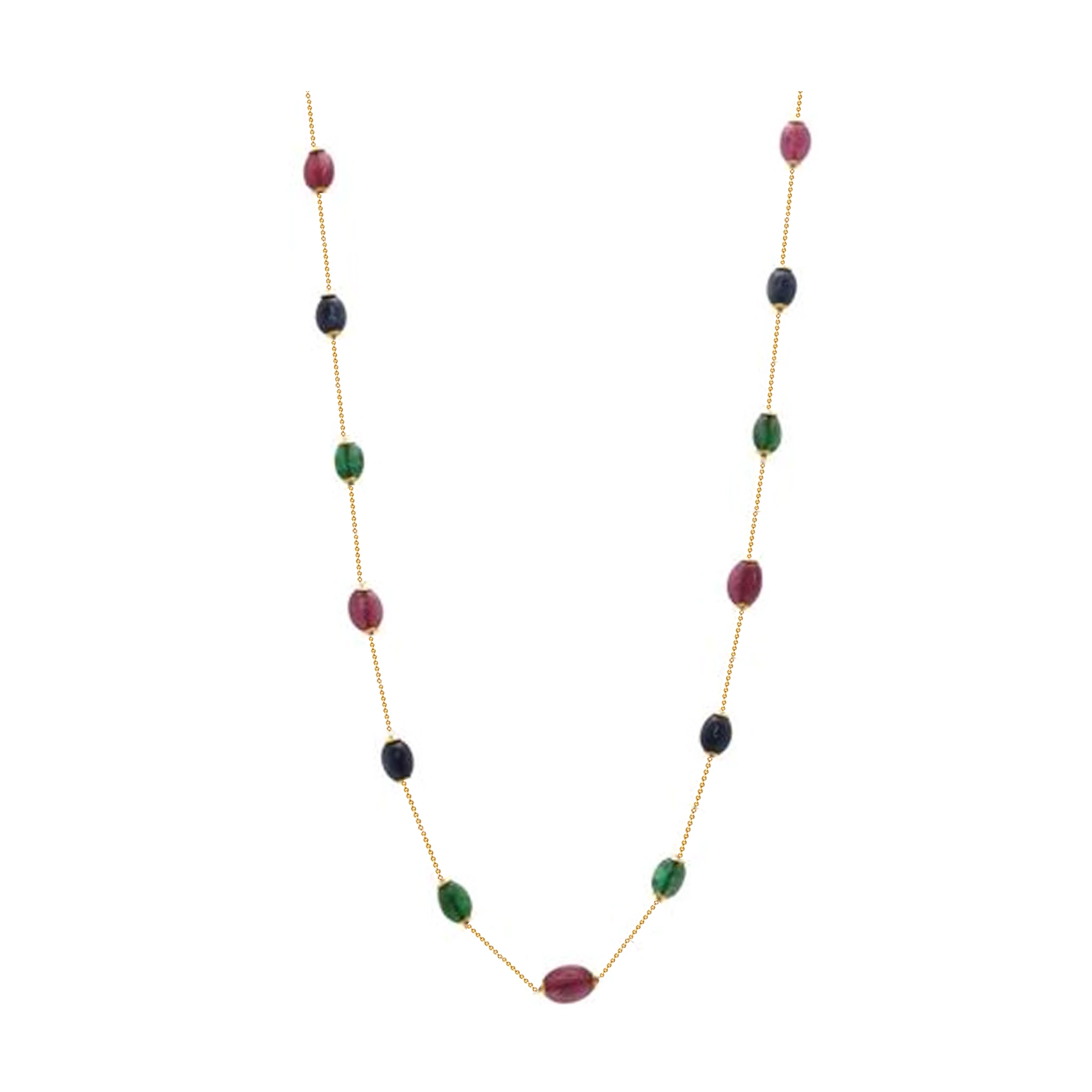 Emerald, Ruby & Sapphire Necklace in 18K Yellow Gold