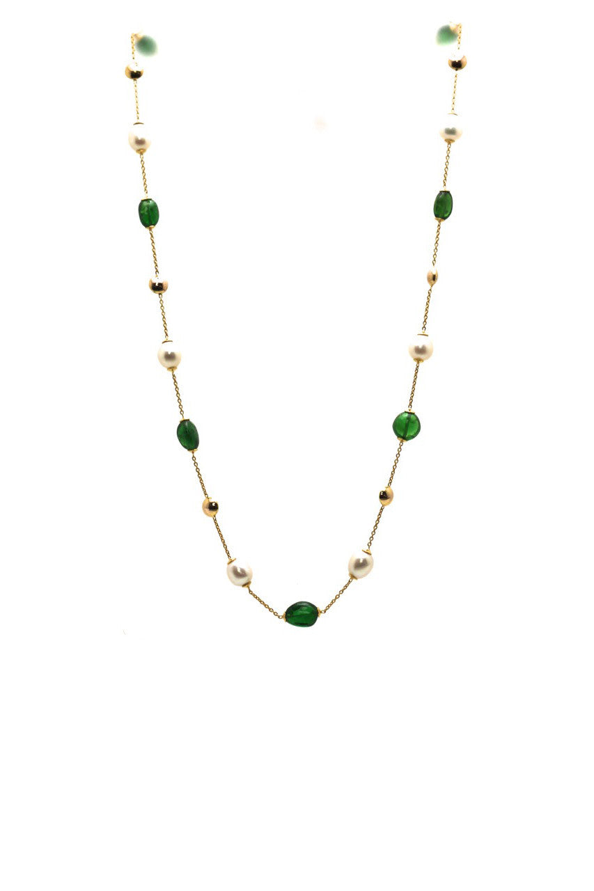 Tsavorite Beads & Pearl Necklace in 18k Yellow Gold