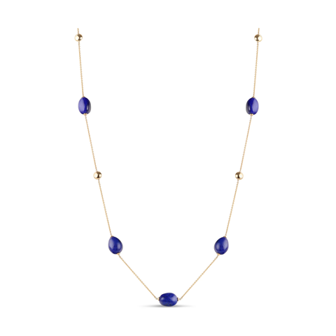 Lapis Smooth Baroque Necklace in 18k YG