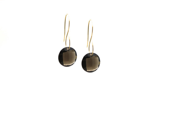 Smoky Quartz Round Earring in 18K Yellow Gold