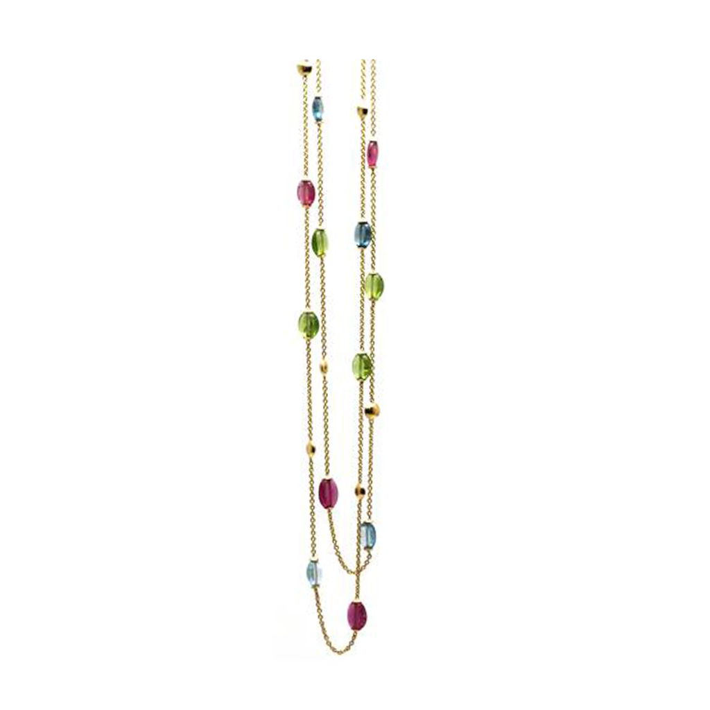 Multicolor Stone Olive Beads Necklace in 18K YG