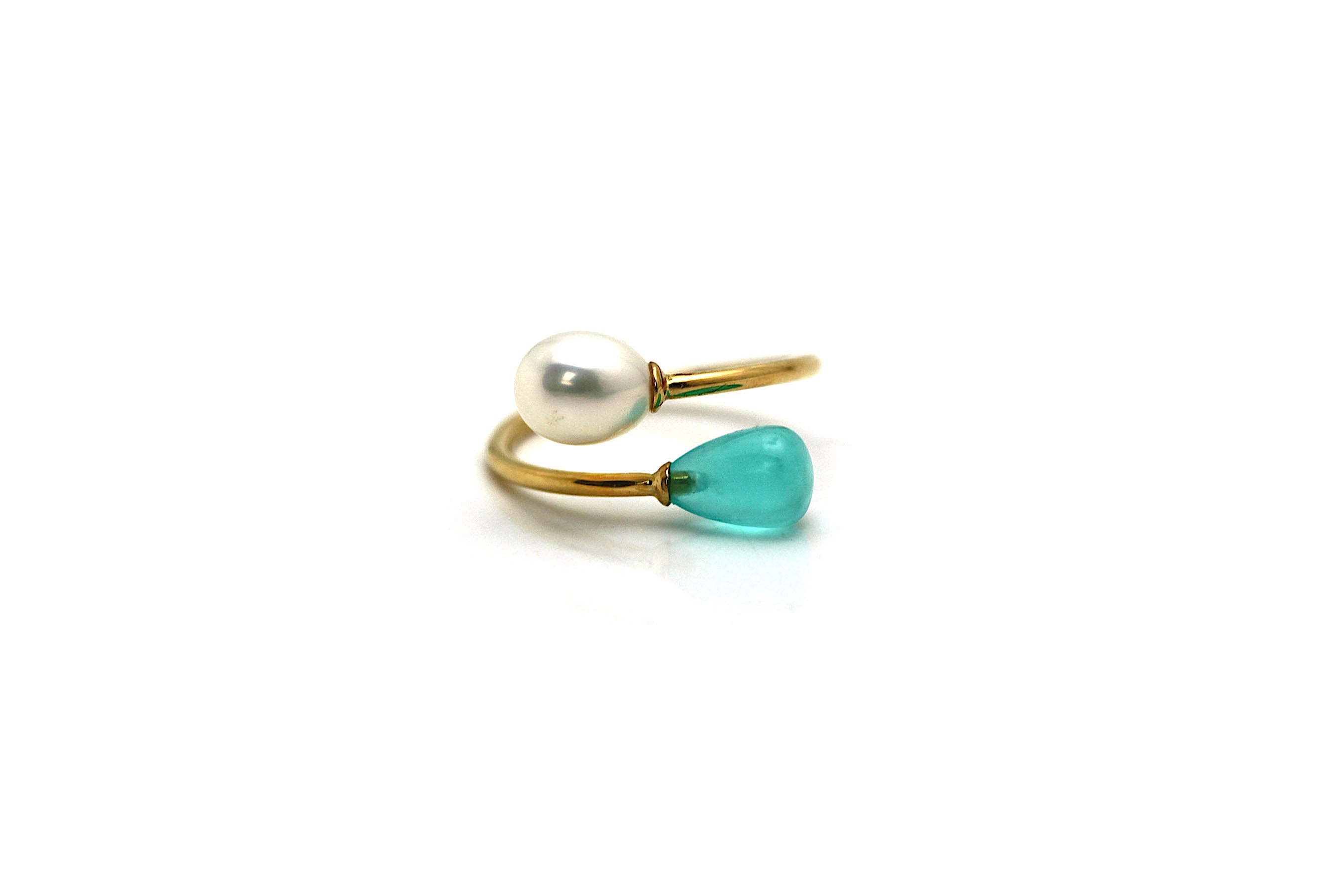 Peruvian Opal & Pearl Ring in 18k YG