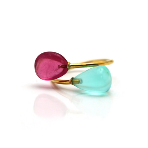 Pink Tourmaline & Peruvian Opal Ring in 18k YG