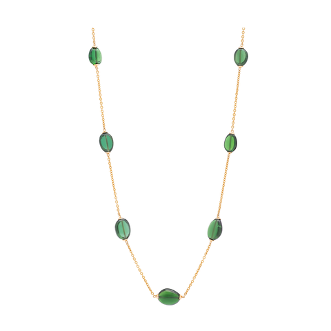 Tsavorite Olive Beads Necklace in 18K Yellow Gold