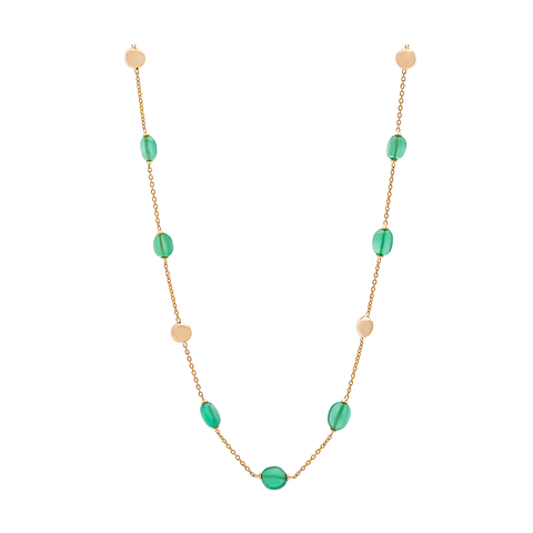 Emerald Olive Beads Necklace in 18K Yellow Gold