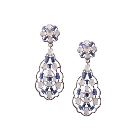 Blue Sapphire & Rainbow Moonstone Earring in 18k White Gold