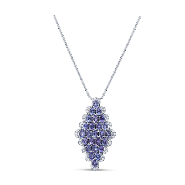 Tanzanite and Diamond Pendant in 18k Yellow Gold