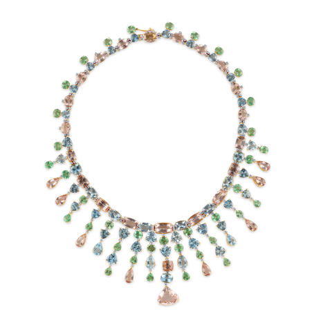 18K Yellow Gold Necklace with Morganite, Aquamarine, Tsavorite Garnet and Diamond