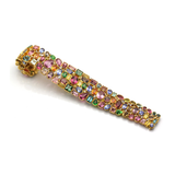 Multi Color Tourmaline, Mandarine Garnet, Tsavorite Garnet and Diamond Bracelet in 18kt Yellow Gold