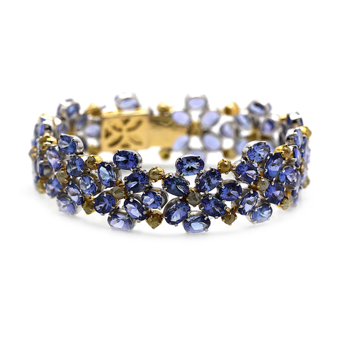 Tanzanite & Color Diamond Bracelet in 18kt Yellow Gold